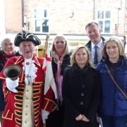 Bill the Bell welcomes Bill Wiggin, Town Mayor and Breakfast Week representatives Karen and Sara