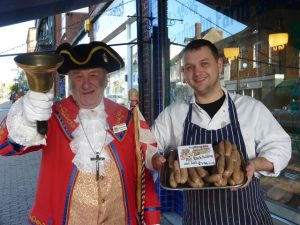 Llandinabo Farm Shop James Bodenham & Bill the Bell with winning sausages P1000685.640x480 90pc