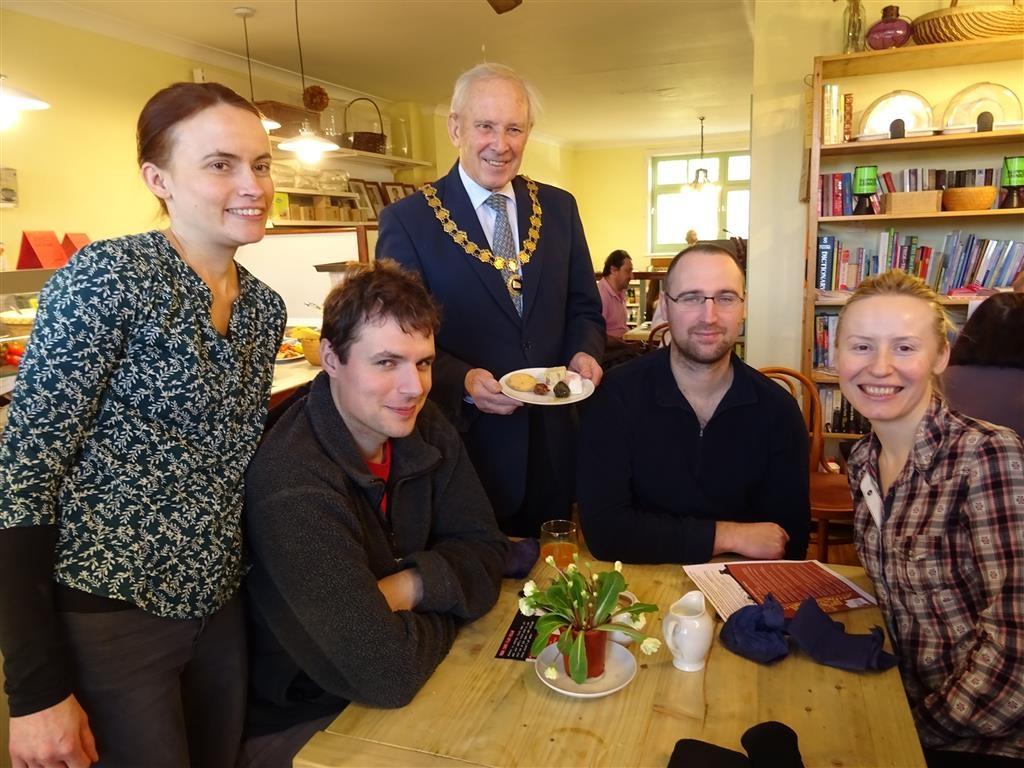 LFG Deputy Town Mayor Keith Francis visits the Syrian Breakfast at Handley Organics