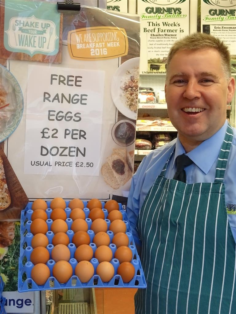 Paul Gurney with local free range eggs