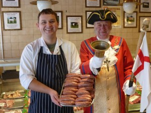 James Bodenham of Llandinabo Farm Shop and Bill the Bell celebrate the winning prize sausage