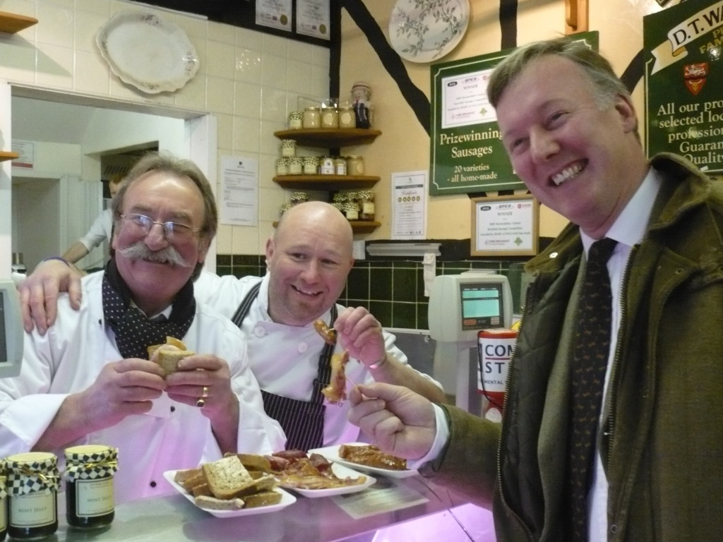 Bill Wiggin MP with butchers Dave and Matthew Waller