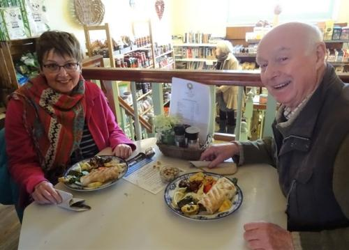 Gilly& John enjoy a Syrian breakfast DSC03505