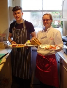 Danni and Taylor serve up breakfast at Mrs Muffins