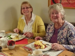 Jean Simpson and Jenny Strudwicke enjoy breakfast at Chez Pascal